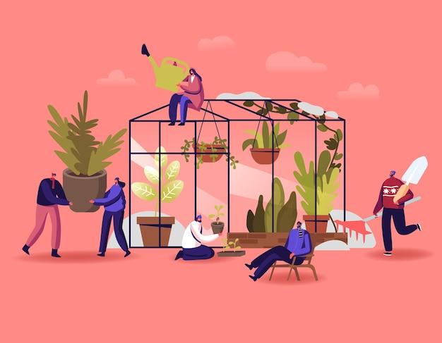ガーデニングまたは植物学の趣味、ウィンターガーデンのコンセプトで働くキャラクター。人々は温室のオレンジリーに花や鉢植えの植物を植え、土壌に水をまき、漫画のベクトル図を肥やす