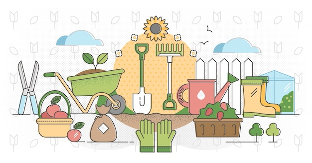 Gardening outline concept vector illustration