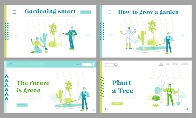 Gardening people grow and care of plants in garden greenhouse landing page template set