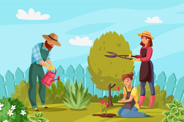 Gardening people illustration