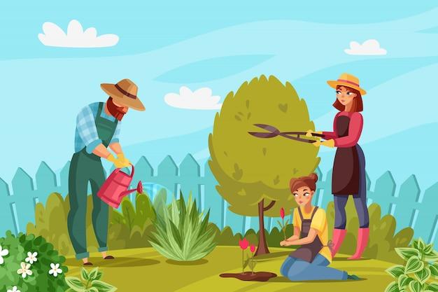 Садоводство люди иллюстрация