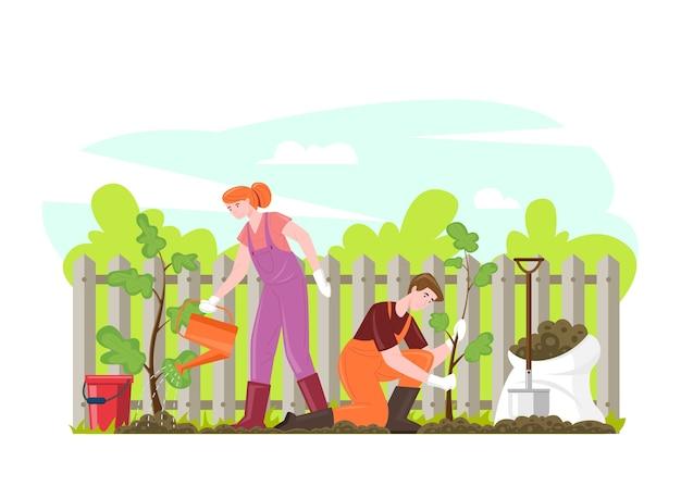 Садоводство люди сажают саженцы деревьев