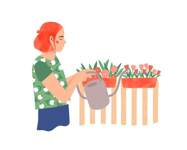 園芸植物ケアフラットベクトルイラスト。花の漫画のキャラクターに水をまく女性の花屋。花が育ちます。じょうろ、栽培者、白い背景で隔離の花壇を持つ庭師。