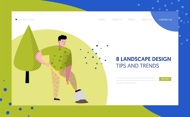 Gardening, planting landing page template. character gardener growing plants concept for web page or website.