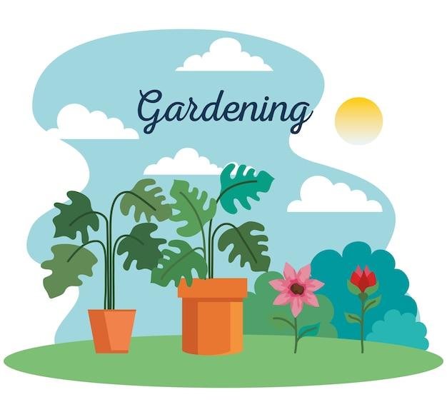園芸植物は、鉢や花のデザイン、庭の植栽、自然のテーマを取り入れています