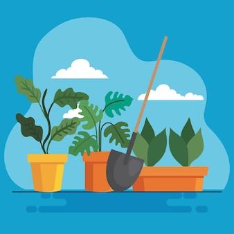 園芸植物は、鉢やシャベルのデザイン、庭の植栽、自然のテーマを取り入れています