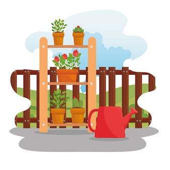 ガーデニング植木鉢とじょうろのデザイン、庭の植栽と自然