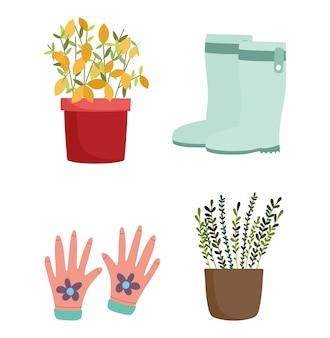 Садоводство, цветы в горшках, перчатки и значки сапог