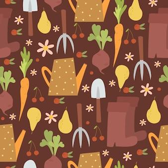 Gardening seamless pattern on dark background