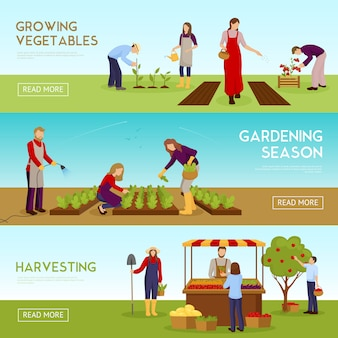 Gardening season horizontal banners set