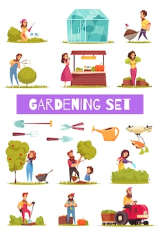 Gardening set of cartoon icons farmers with work tools and equipment during various activity