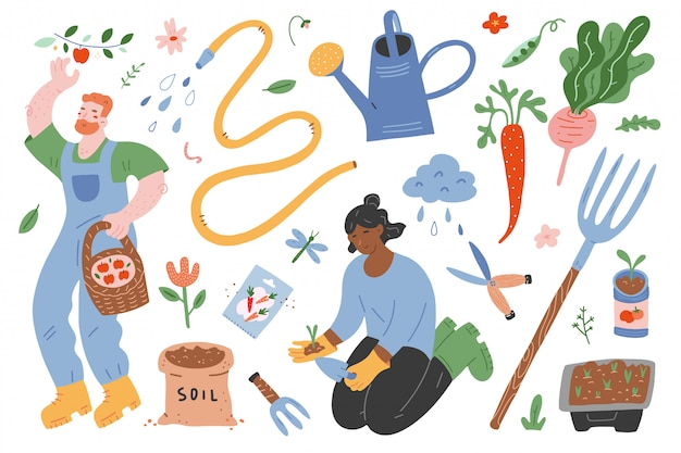 Gardening set of illustrations, working people and tools