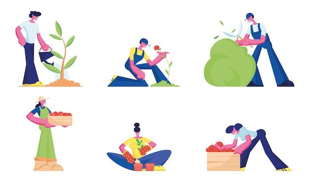 원예 세트. 남성과 여성 농부 또는 정원사 나무와 식물을 심고 돌보는 일. 만화 평면 그림