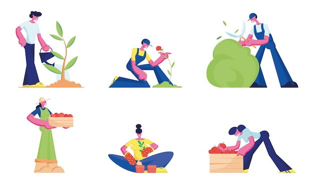 Gardening set. men and women farmers or gardeners planting and caring of trees and plants. cartoon flat illustration