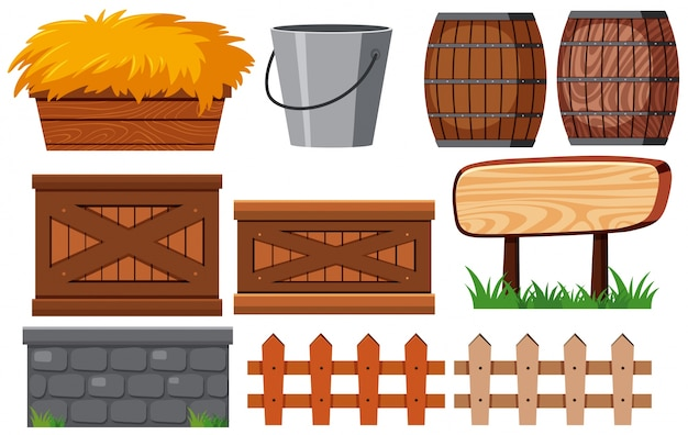 Gardening set with fences and hay