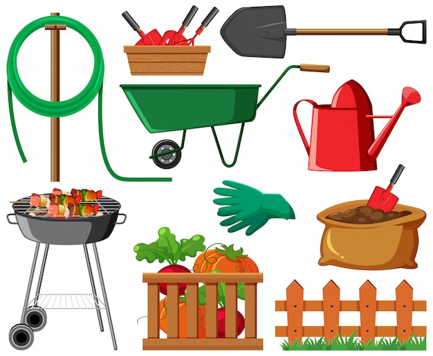 Gardening set with vegetables and tools