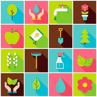 Gardening spring colorful icons. vector illustration. nature set of flat rectangle items with long shadow.