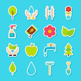 Садовые весенние наклейки. векторная иллюстрация плоский стиль. коллекция сезонных символов природы.