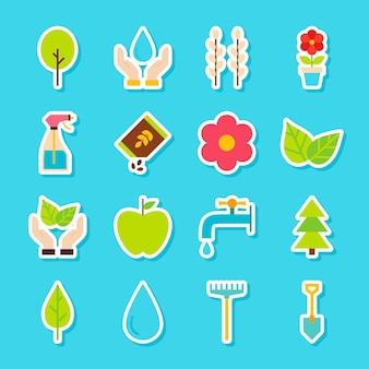 Gardening spring stickers. vector illustration flat style. collection of seasonal nature symbols.