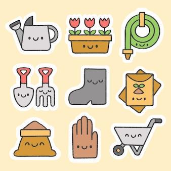 Gardening sticker hand drawn cartoon collection