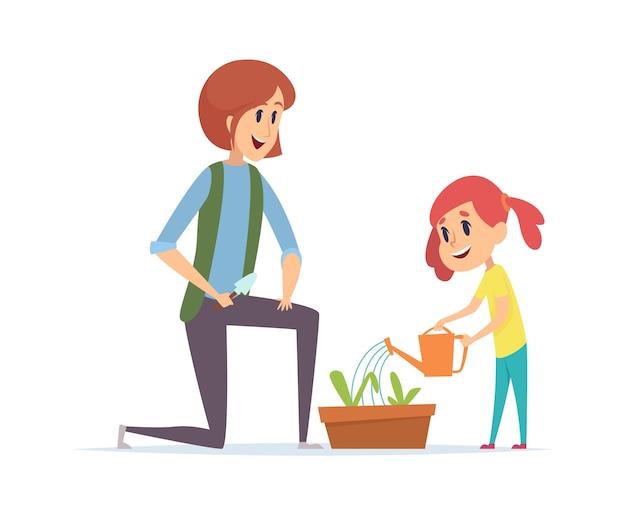 정원 가꾸기 시간. 잔디를 심고 물을 뿌릴 수 있는 여자 소녀. 작은 아기와 어머니는 정원 벡터 삽화에서 일하고 있습니다. 엄마와 딸이 녹색 꽃을 심다