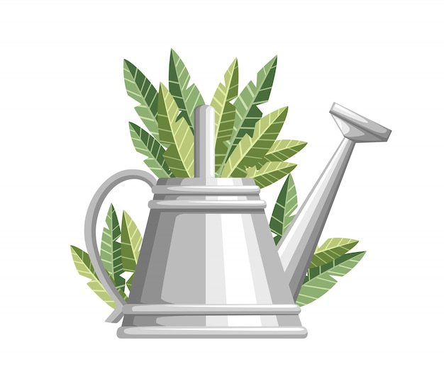 Gardening tool watering can. metal flower can with green leaves. farming equipment  style.  illustration  on white background