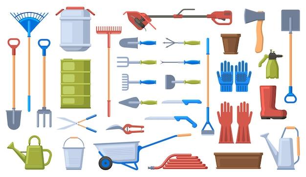 ガーデニングツール。園芸用品、シャベル、熊手、手押し車、手袋、剪定ばさみ。農業園芸作業工具セット。