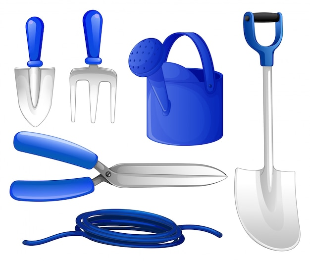 Gardening tools and hose illustration