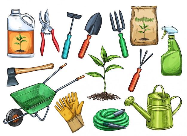 スケッチスタイルのガーデニングツールイラスト。斧、苗、ガーデニング缶、カッター。肥料、手袋、殺虫剤、熊手、手押し車、散水ホース。