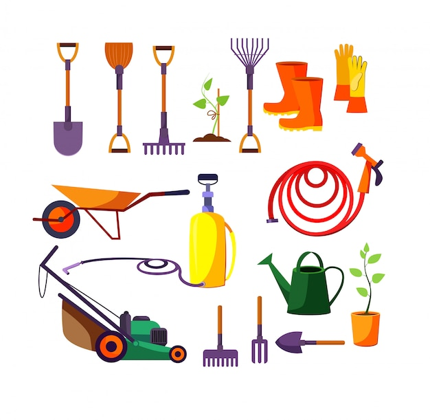 Gardening tools illustration set