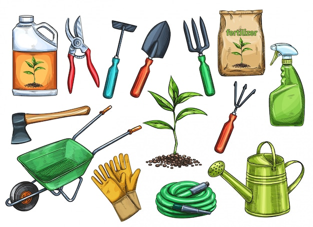 Gardening tools  illustration in sketch style. axe, seedling, gardening can and cutter. fertilizer, glove, insecticide, pitchfork, wheelbarrow and watering hose.