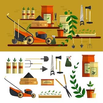 Садовые инструменты иллюстрации. векторные элементы установлены в плоском дизайне в стиле. работа в саду концепции. газонокосилка, почва, инструменты, цветы, материалы для посадки.