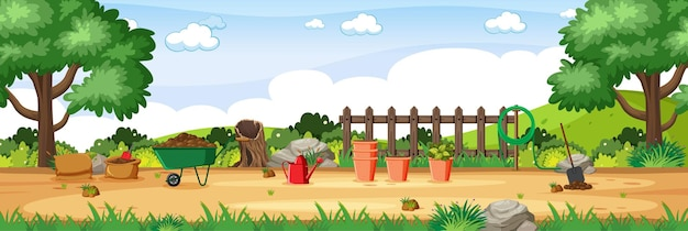 Садовые инструменты в саду горизонтальной сцены