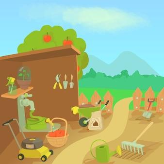 Gardening tools landscape concept