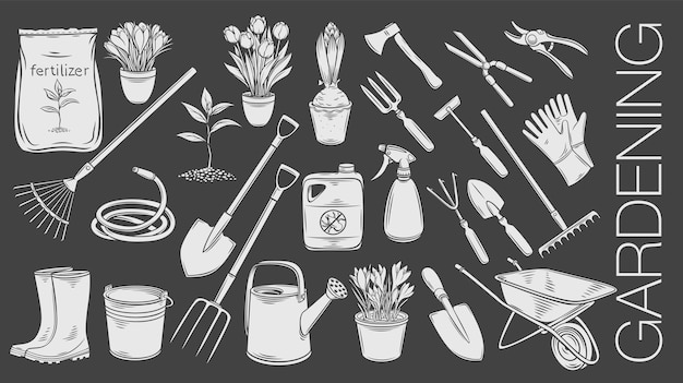 Gardening tools and plants or flowers glyph icons.