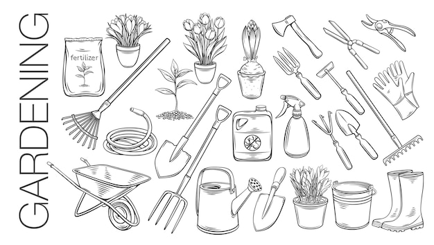 Gardening tools and plants or flowers outline icons. engraved of rubber boots, seedling, tulips, gardening can and cutter. fertilizer, glove, crocus, insecticide, wheelbarrow and watering hose.