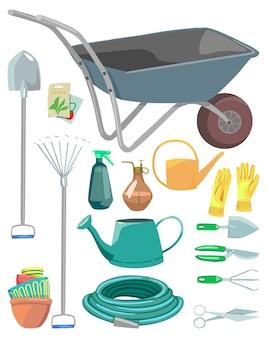 원예 도구, 냄비, 장비. 손으로 그린 벡터 삽화의 컬렉션입니다. 다채로운 만화 클립 아트 흰색 배경에 고립입니다. 디자인, 인쇄, 장식, 카드, 스티커 요소.