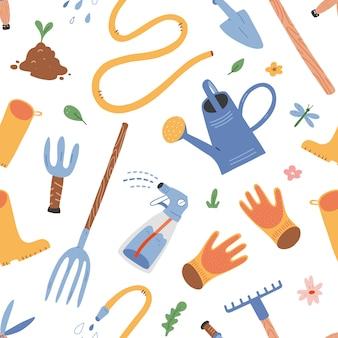 Gardening tools, seamless background