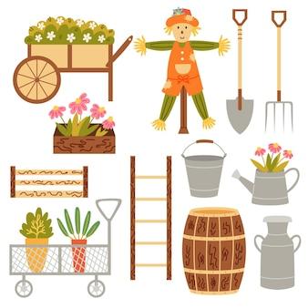 Садовый инвентарь набор декора: тележка для цветов, ящики, бочка, чучело, вилы, лопата, лестница, банка, ведро, лейка. векторный рисунок руки клипарт
