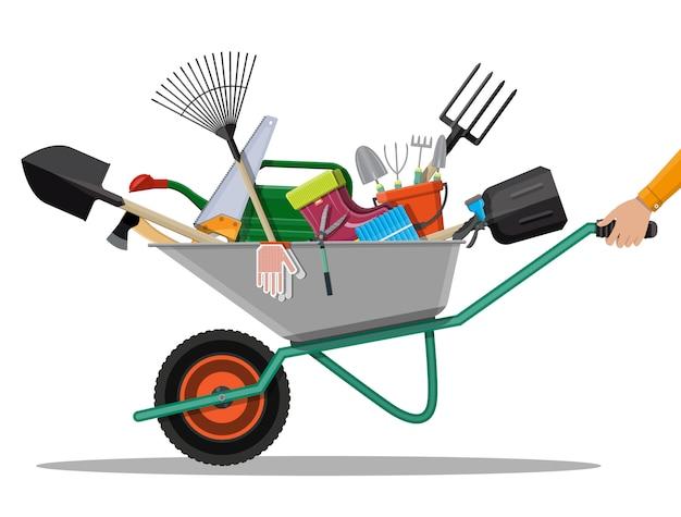 Набор садовых инструментов. техника для сада
