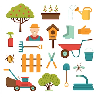 Gardening tools vector elements isolated