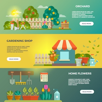 Gardening vector banners with garden tools