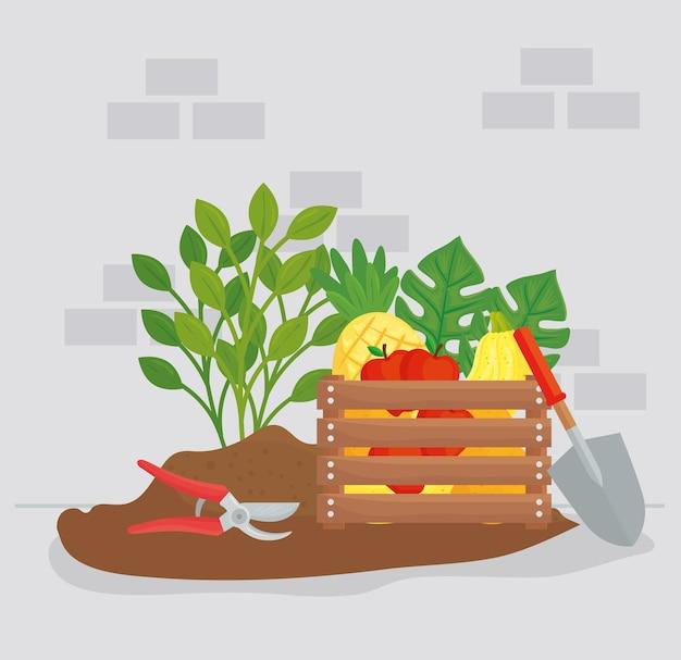 원예 야채 과일 식물 펜치 및 삽 디자인, 정원 심기 및 자연