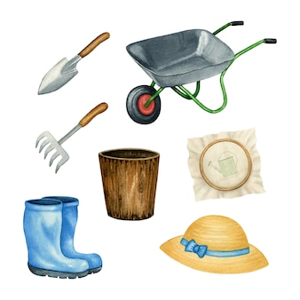 Gardening watercolor set