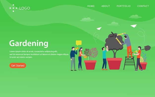 Gardening, website template,  layered, easy to edit and customize, illustration concept