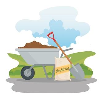 Gardening wheelbarrow fertilizer bag and shovel design, garden planting and nature