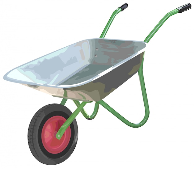 Gardening wheelbarrow on one wheel  the empty truck