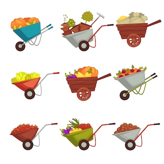 Gardening wheelbarrow with vector harvest
