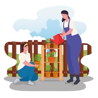 식물과 물을 가진 원예 여성은 디자인, 정원 심기 및 자연을 할 수 있습니다.