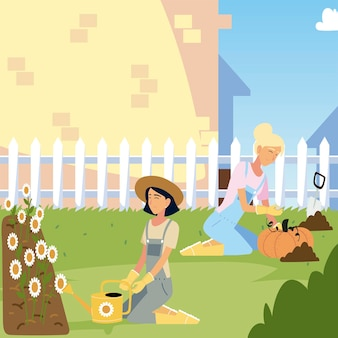 Gardening, women with sunflowers and harvest pumpkin  illustration